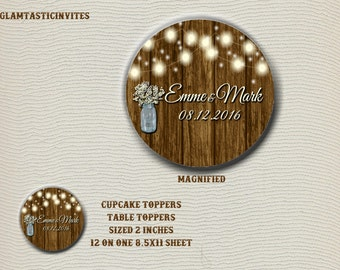 Rustic Wedding Cupcake Toppers, Rustic Wedding Stickers, Rustic Stickers, Rustic Cupcake Toppers, Rustic, Rustic invitation, wood, mason jar