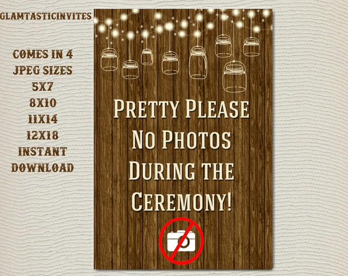 No Photos Wedding Sign, No Photos During Ceremony Sign, Rustic Wedding Sign, Printable Sign, Wedding Sign, Rustic Wedding, Digital Sign