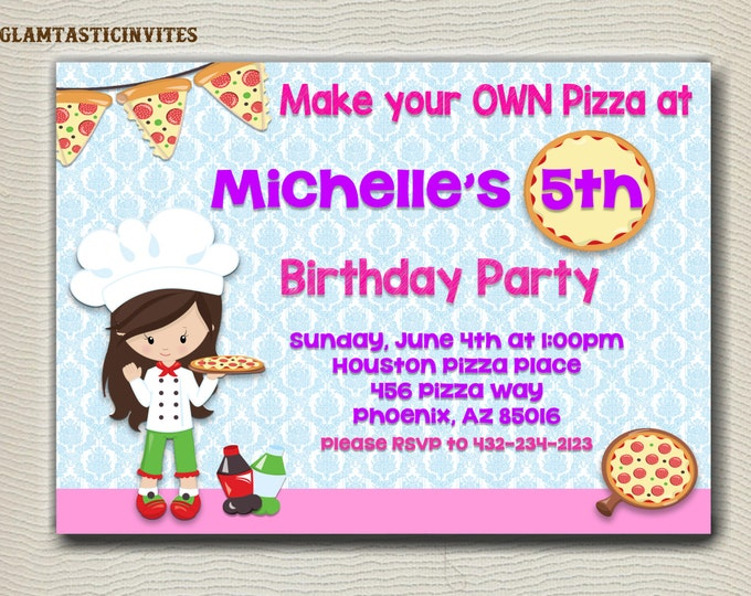 Pizza Party Invitation, Make your OWN Pizza Party Invitation, Girl Birthday Party, Pizza Party Birthday, Pizza Party Invite, Pizza, Birthday