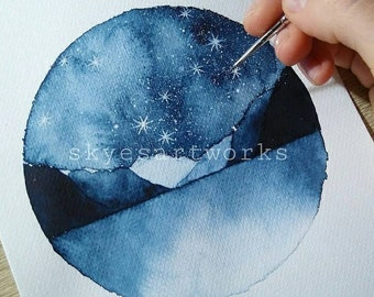 Fjords North Blue Galaxy Space Watercolor Painting Art Print