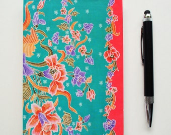 Turquoise and pink Peranakan batik A6 handbound notebook, journal or sketchbook