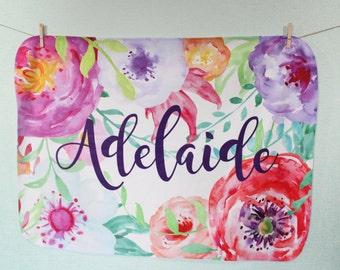 Flower Blanket- Watercolor blanket- Baby Girl Blanket- Monogram Baby Blanket - Swaddle Receiving Blanket - Custom Blanket