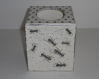Tissue Box Cover, Decoupage Wooden Tissue Box  Holder