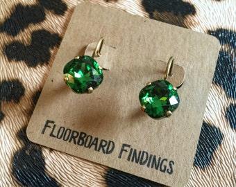 Swarovski Crystal Drop Earrings in Fern Green
