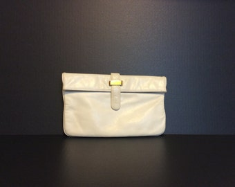 Vintage Crown Lewis White Leather Clutch
