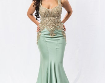 Pastel Green and Gold Prom Dress