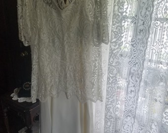 2 Piece Vintage Ivory/White Lace and Pearl Beaded Top Over Slip Dress
