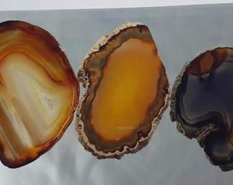 Natural Brazil Agate Slices Geode Polished Slab Quartz Lot (5) - N3