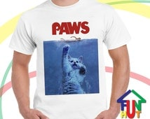Jaws Parody Paws mens Unisex Ultra Cotton Tee Shirt All Sizes kitty cat kittens cats sharks swimming Swimming in the Ocean Sharks stingray