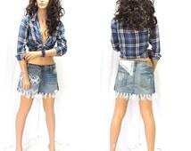 Hollister upcycled denim skirt M Boho fringed denim lace mini skirt size 7 / 8 restyled bohemian jean lace skirt SunnyBohoVintage