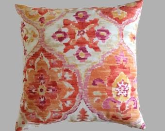 Coastal Pillows, Tangerine Orange Yellow Pink Red Indoor Outdoor Throw Pillow Cushion Cover Beach Zippered Pillow, Patio Decor Accent Pillow
