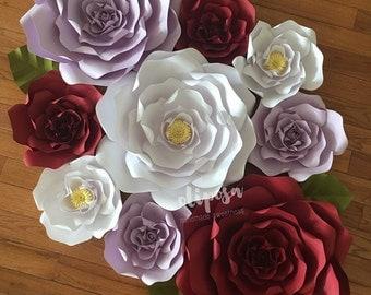 9pc paper flower set, decor, wedding, engagement, bridal shower. Customize your colors!