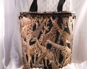 African Giraffe purse tote with pockets beaded trim all in black brown and tan magnetic snap cotton handles