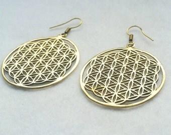 Large Flower of life Earrings, Sacred Geometry, Gold Earrings, Indian Jewellery, Gold Earrings, Gypsy Earrings, Boho Jewellery