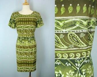 Vintage 80s Tribal Shift Dress, Green Dress, Watercolor Print Dress, 1980s Dress, Day Dress, 80s Dresses, Vintage Dresses, M L Dress