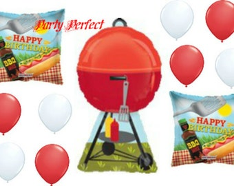 11 pc BBQ, Cookout Happy Birthday Balloon Bouquet