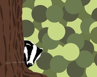 Badger Wall Print for nursery