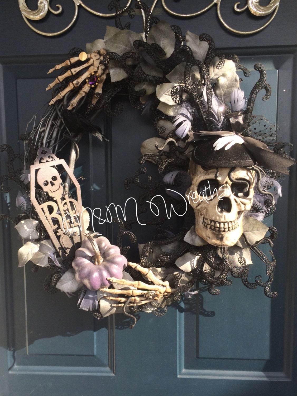 Femme Fatale Halloween Skull Top Hat Wreath By
