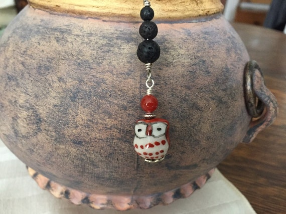 Diffuser Necklace. Hand Painted Ceramic Owl. 3 Lava Beads for Essential Oils. Chain Included. Matching Earrings Available.