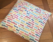 Pet Cushion Covers, Animal Word Print , Fun and Unique  - Various Sizes