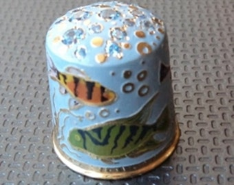 Author's collection thimble of handwork as a gift the unique decorative souvenir Blue Fishes