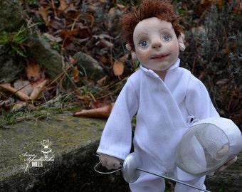 Handmade Doll- Zibi -  42cm- (ZA15'11) - handmade doll- textile doll- fabric doll- rag doll- home decoration- handmade toy