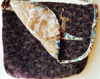 Reversible Messenger Bag - Brown Squiggles