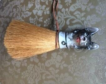 Vintage German Shepherd Straw Brush, valet brush, décor, antique brush