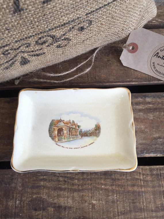 CROWN DEVON BUTTER Dish - Fielding Crown Devon Butter Tray c1900 / Cream & Gold Souvenir Dish of Market Hall High Street Chippin Camden