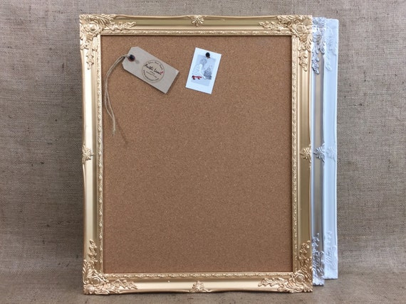 FRAMED CORK BOARD / White - Gold - Silver - Push Pin Board / Ornate Cork Vision Board / Framed Message Board / Notice Board