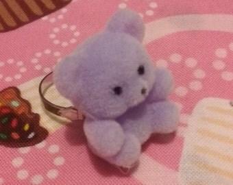 Fuzzy Purple Bear Ring