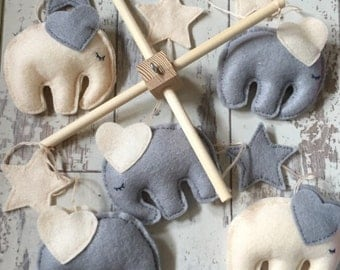 Elephant Baby Mobile - Cream and Grey Mobile - Nursery Mobile - Crib Mobile - Nursery Decor