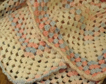 Crochet Baby Blanket - White, Pink & Blue