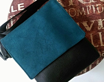 Teal blue faux suede feature flap and black messenger vegan faux leather cross body shoulder vinyl bag handbag