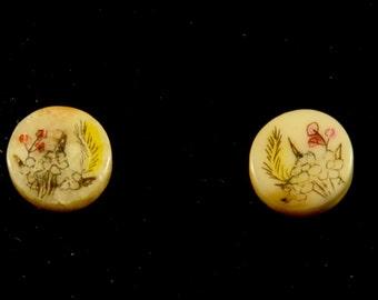 Vintage Hand Painted Stud Earrings _0004