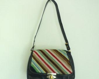 Vintage 70s Tapestry Leather Handbag, Striped Tapestry Purse, Black Leather & Cloth Purse, Shoulder Purse, 1970s Purse, Minimalist Bag
