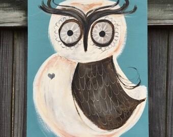 Owl Painting on a Wood Panel Original Owl Bird Art