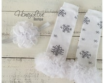 Frozen Snowflake Christmas ruffle leg warmers matching flower headband infant baby toddler little girl