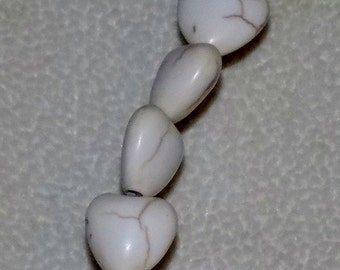 "White 10mm Puffed Heart Natural Magnesite Gemstone Beads (16"" strand)"