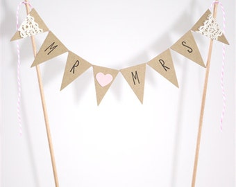 Wedding Cake Bunting Topper Mr and Mrs