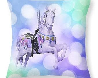 Carnival Print, Canival Canvas, Carnival Pillow, Carousel horse, Carousel photography, Nursery art, Baby boy nursery decor, Canival wall art