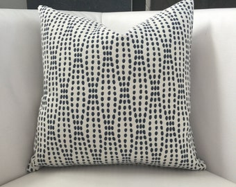 "White and Navy Throw Pillow-  White and Blue Accent Pillow 16""x16"",  Throw pillow- white navy -  Neutral Decorative Pillow - Modern Pillow"