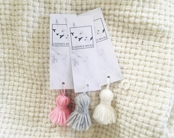 White Marble Personalised Bookmark | Hanging Tassel | Grey, White & Pink