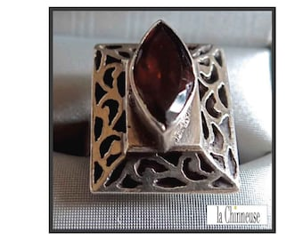 VINTAGE RING SILVER & Garnet / 70's Ring / Ring in silver and Garnet / sterling Silver and Garnet Ring.