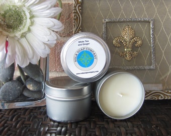 White Tea and Ginger Scented Soy Travel Candle 4 oz Metal Tin