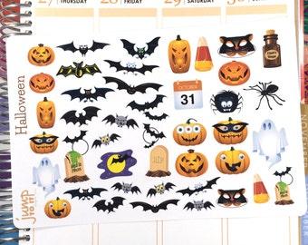 Halloween 1 stickers  |  for Erin Condren Happy Planner  |  fall autumn October pumpkin bats ghosts