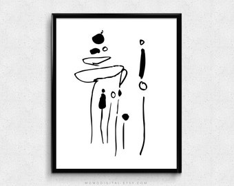 SALE -  Abstract Nature Plants, Black White Illustration, Hand Drawn Doodle Sketch, Flower, Modernism, Contemporary Art Poster