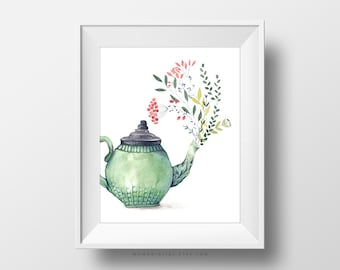 SALE -  Nature Tea, Watercolor Painting, Tea Time, Tea Kettle, Vintage Drawing, Home Wall Decoration, Gardening, Nature Lover, Art