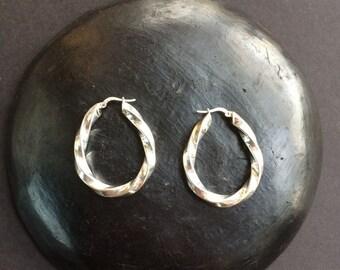 Sterling silver hoop earrings 925 twisted vintage large bold statement