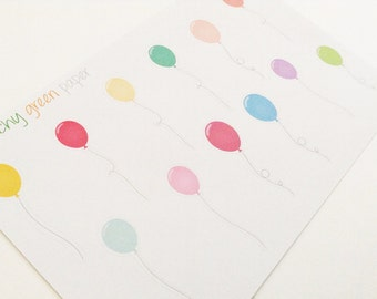 12 Balloon Stickers - Planners, Scrapbooks, and Crafts